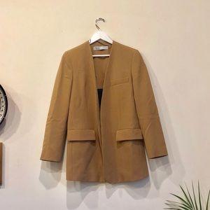 ZARA Tan Long-Line Blazer NEW with Pockets